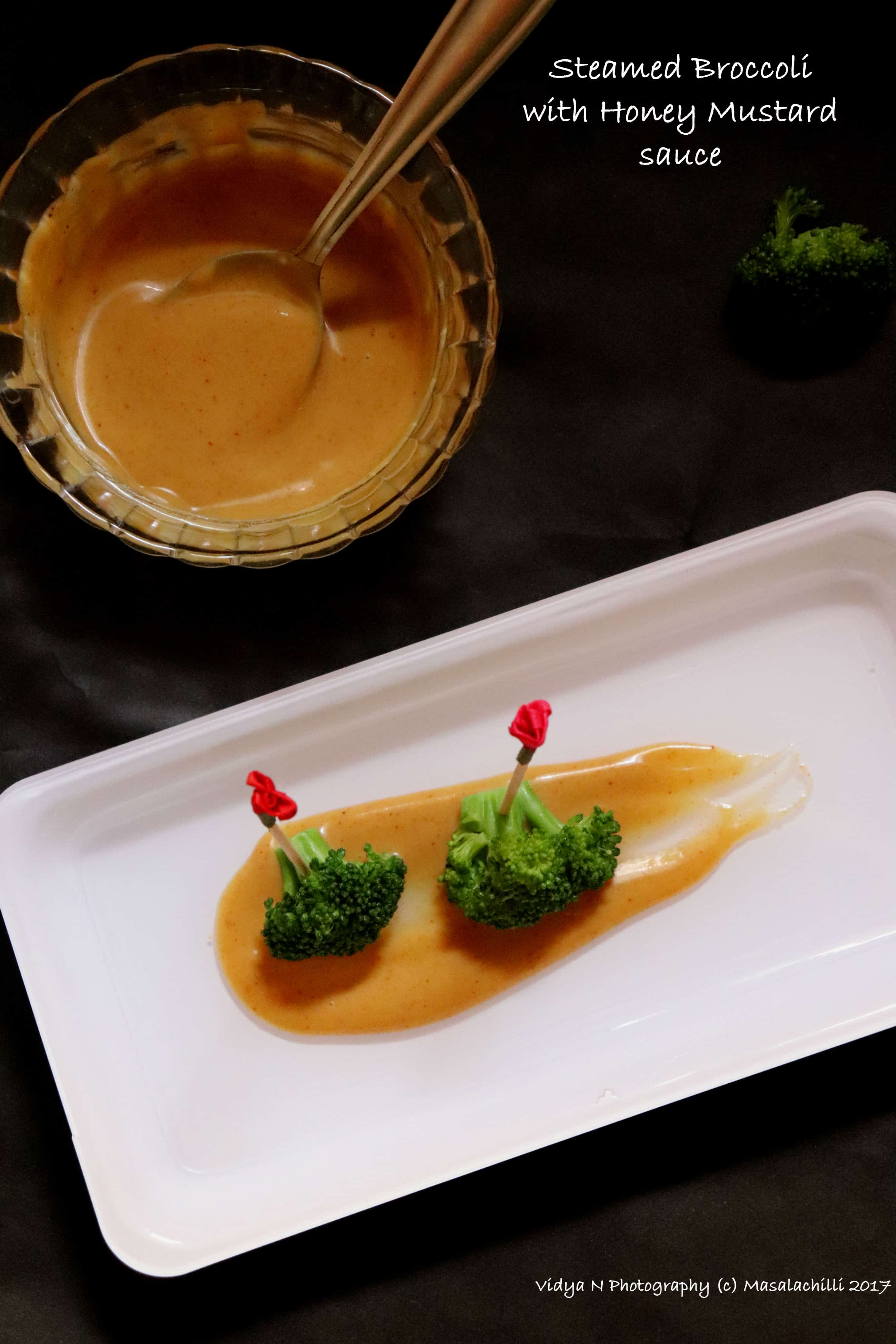 Steamed Broccolis with Home Made Honey Mustard Sauce