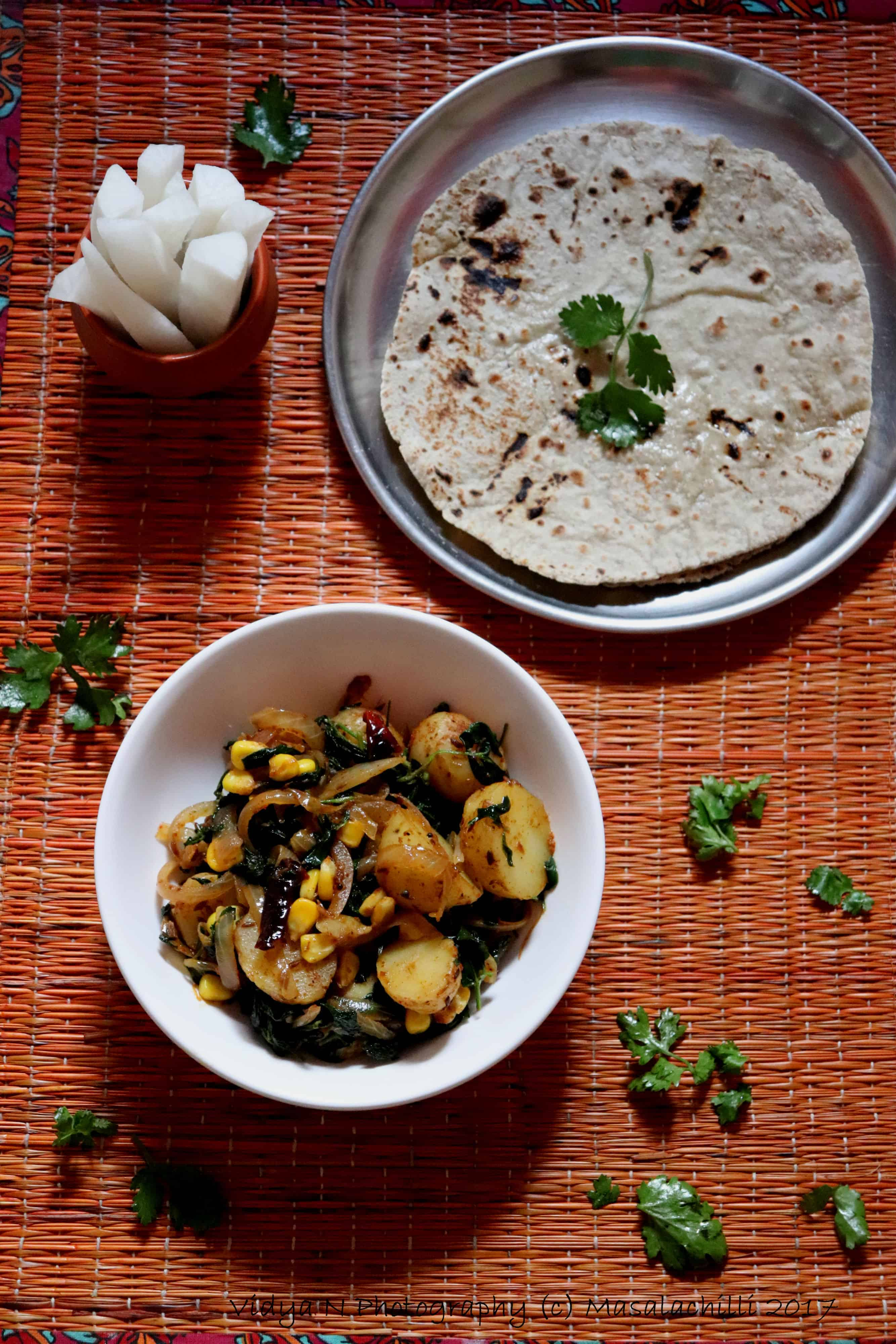 Winter Special Platter – Aloo Corn Methi with Whole Wheat Bajra Rotis and Raddish