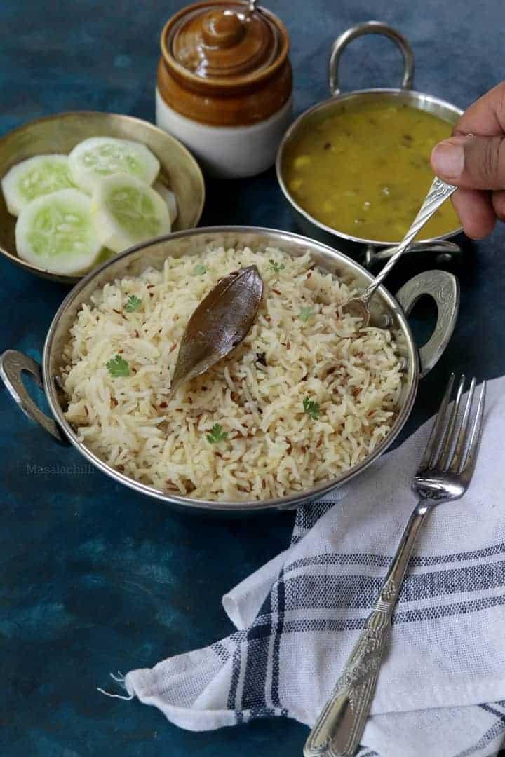 Jeera Rice / Cumin Rice / Jeera Rice In Pressure Cooker