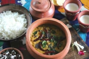 Pavakkai Pitlai or Bitter Gourd in Spiced Coconut gravy