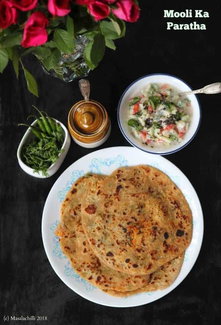 Mooli Paratha Recipe (Stuffed Flatbreads with Spiced Radish Mix)