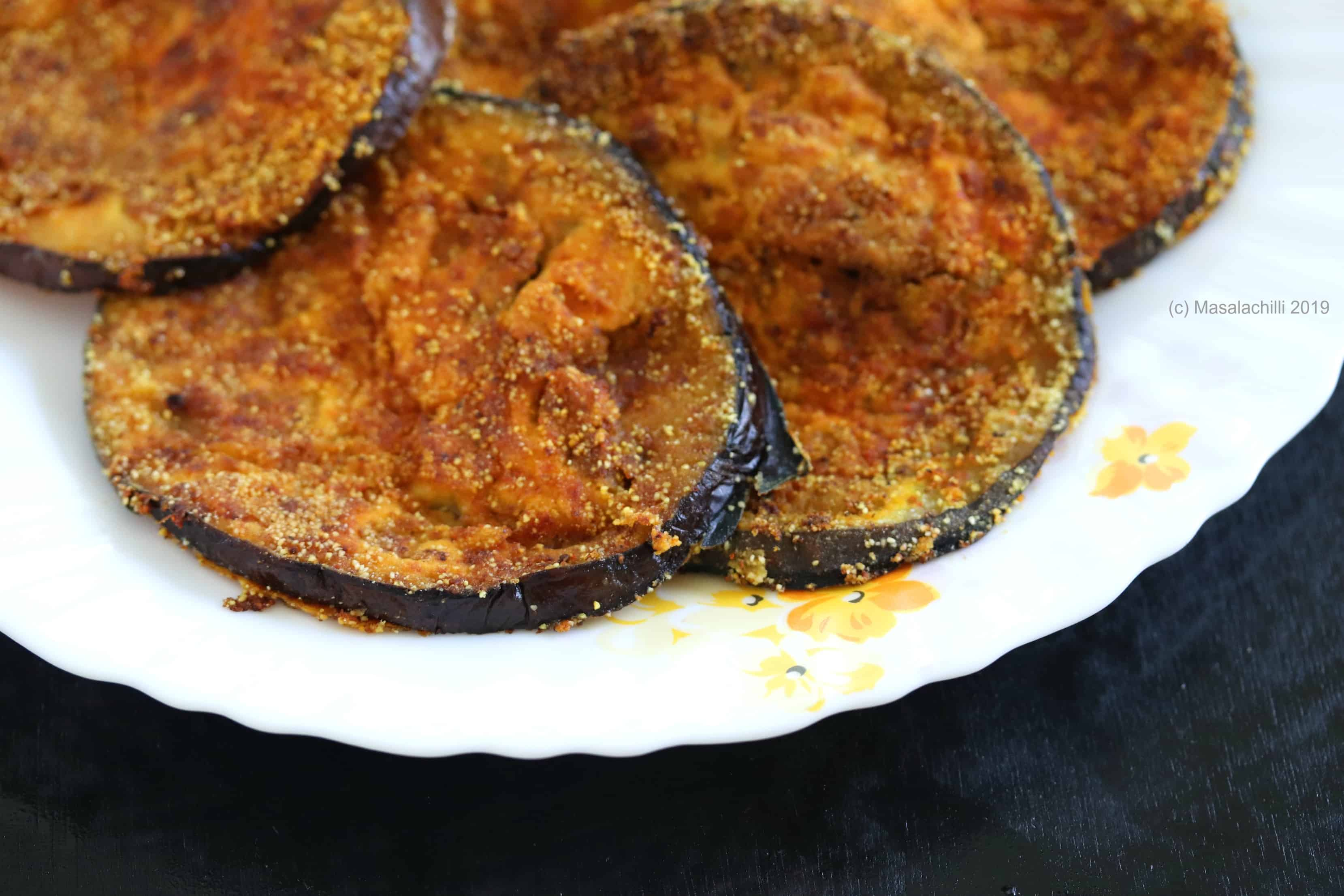 Aubergine pan fried best eaten with dal rice