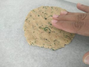 Patting and shaping the flatbread