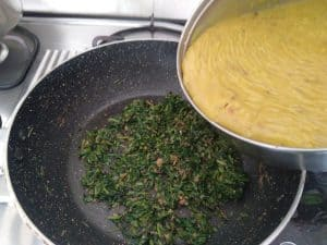 Addition of dal with methi leaves