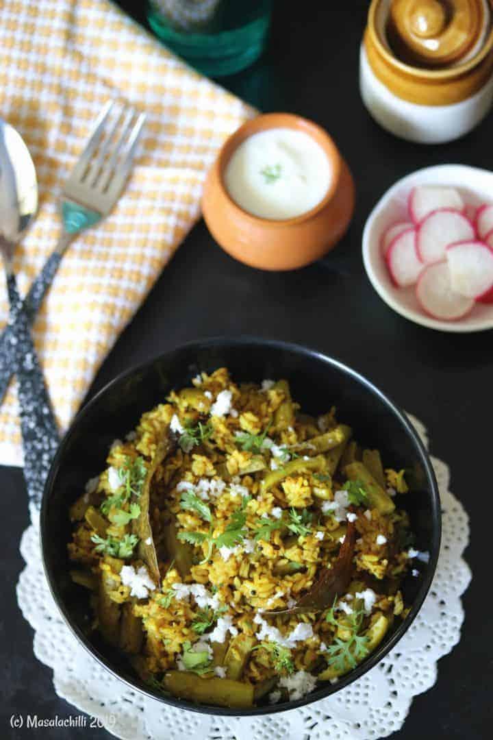 Maharashtrian Tondli Bhaat Recipe with Goda masala