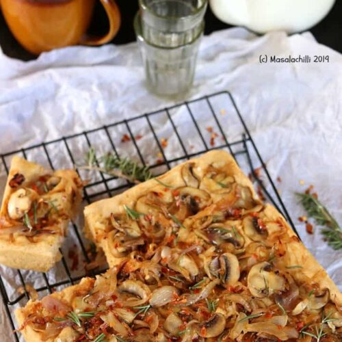Focaccia Bread with onion and mushroom