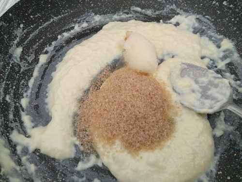 Sugar and Ghee to thicken and sweeten the palkova