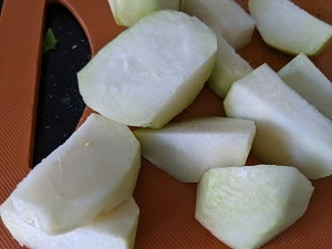Chopped Kohlrabi vegetable