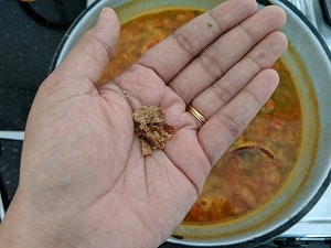 Jaggery is added to rasam to balance flavors and acidity