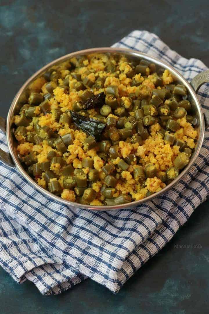 Beans Paruppu Usili (Beans Lentils Dry Sabzi)