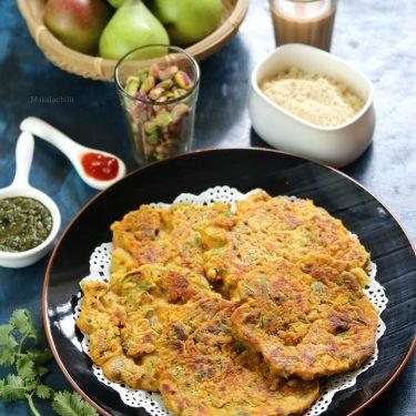 Sattu Vegetable Pancakes (Savoury Breakfast Recipe with Sattu)