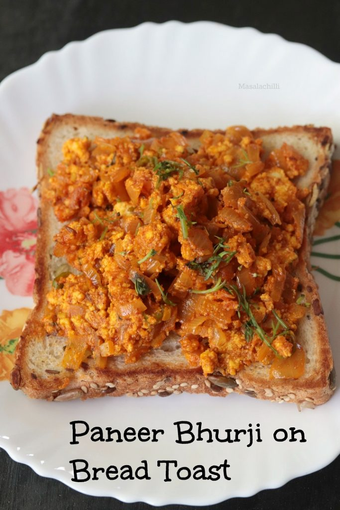 Paneer Bhurji On bread Toast