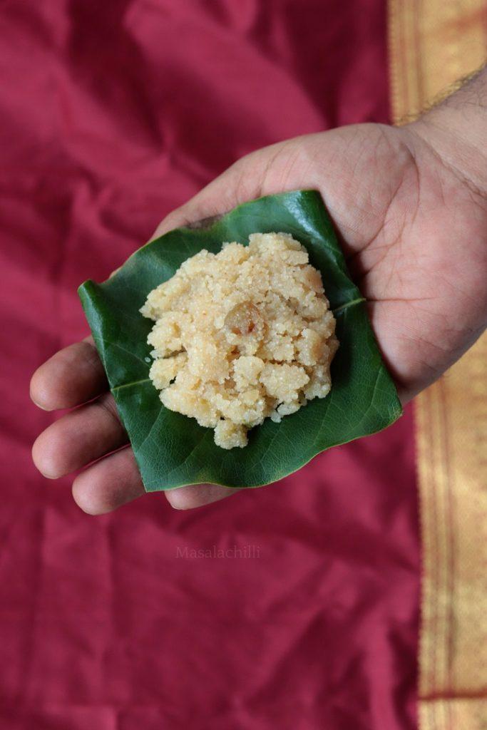 Banana Sheera served as prasad for Satyanarayan Pooja
