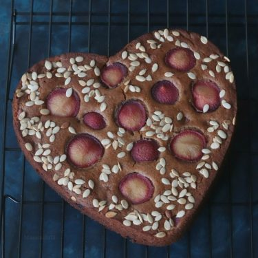 Eggless Fresh Plum Cake Recipe (Whole Wheat, No Refined Sugar)