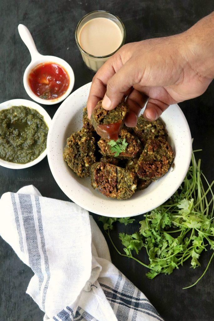 Kothimbir Vadi served with chutney and tomato ketchup