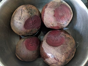 Beets ready to be pessure cooked