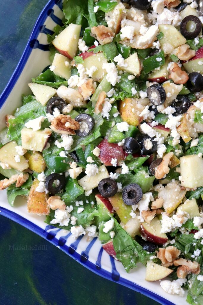 Pear Salad Recipe with walnuts, feta cheese and apples and a 5 ingredient salad dressing