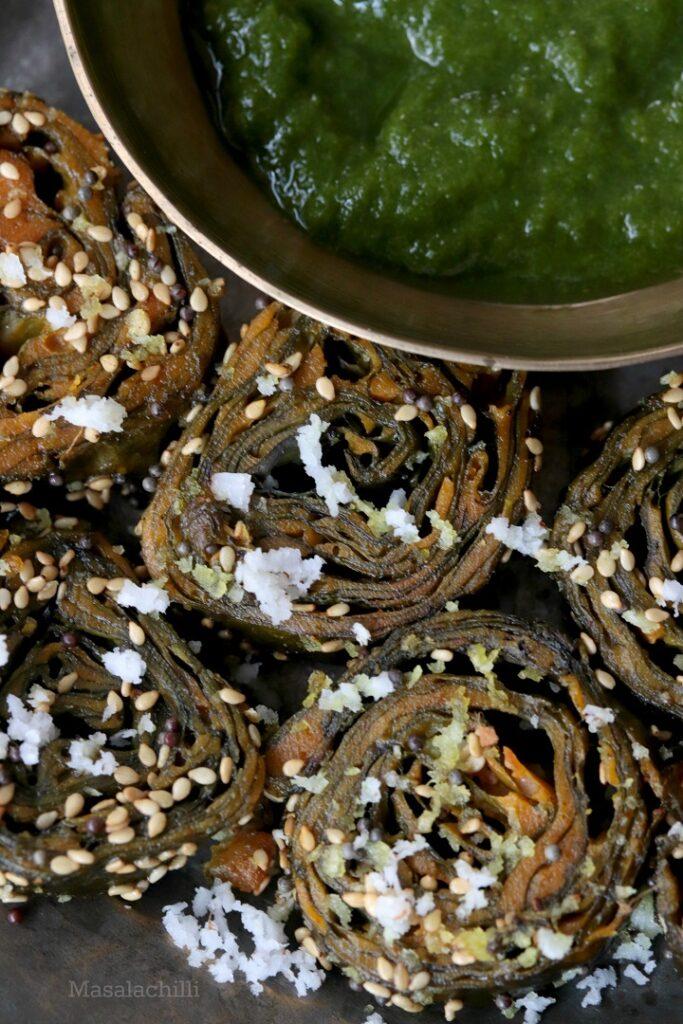 Alu Vadi served with green coriander chutney