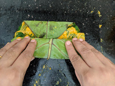 fold the leaves gently into a log