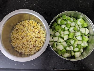 Ingredients for Peerkangai Kootu - toor dal and chopped vegetables