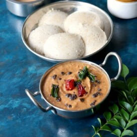 Sutta Kathirikkai chutney served with idli and coffee