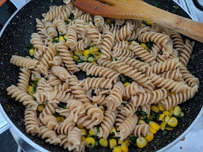 pasta added with vegetables