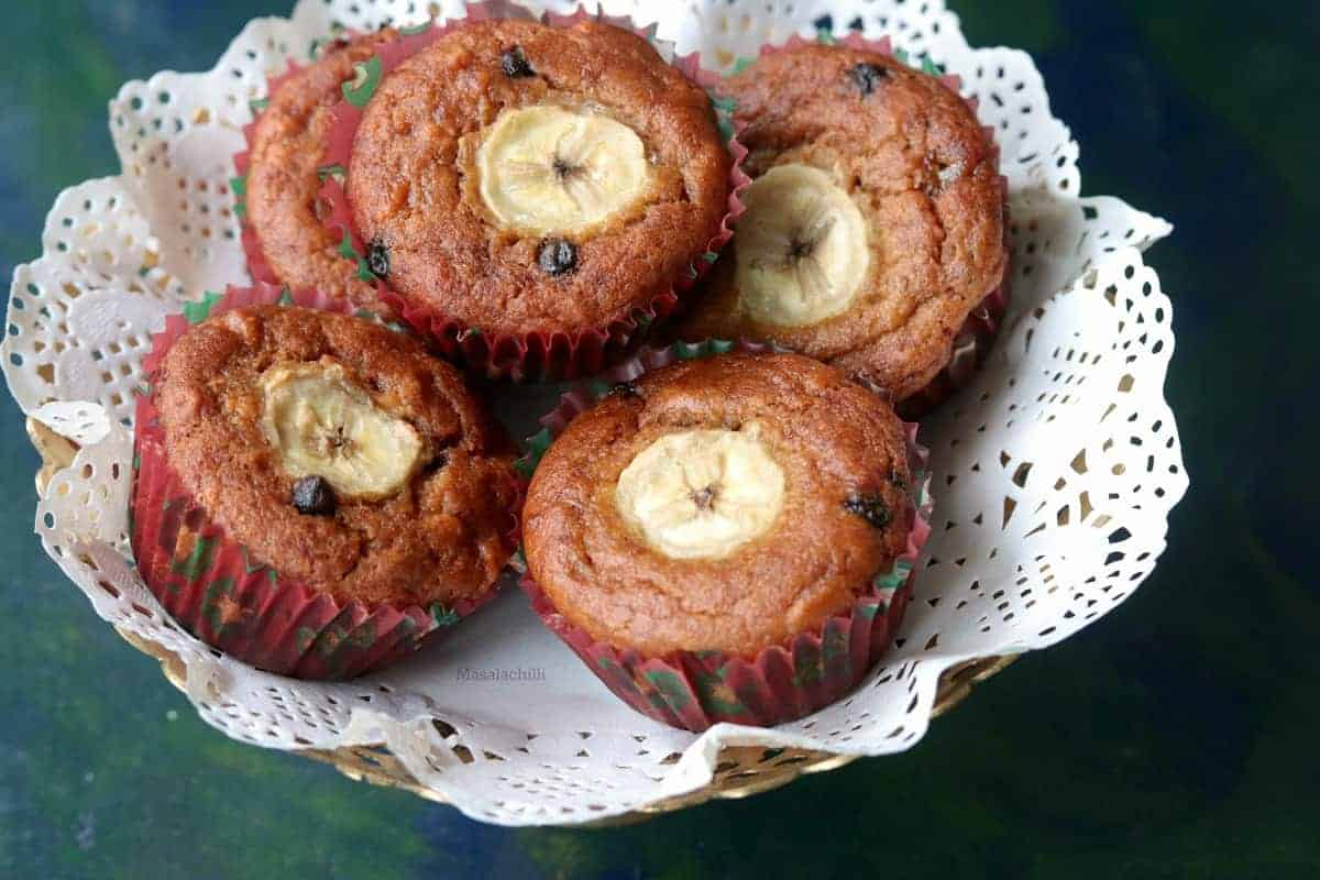 Banana Chocolate Chip Muffins (Whole Wheat, Eggless)