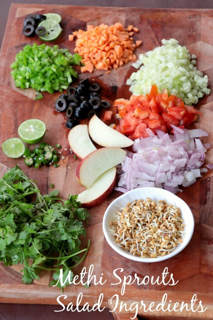 Ingredients for Methi Sprouts salad