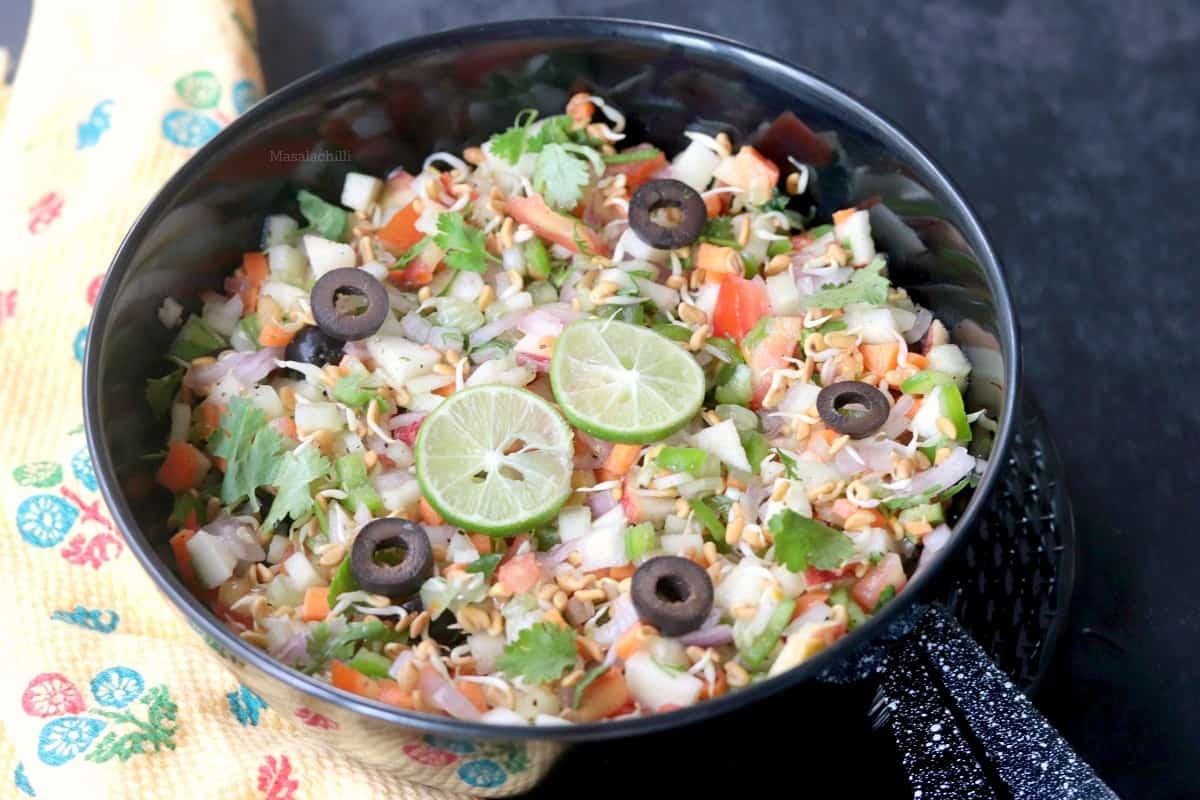 Methi Sprouts Salad Recipe   No Oil Fenugreek Sprouts Salad