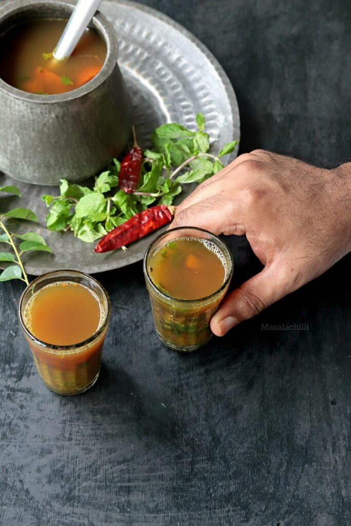 Pudina Rasam served in glass as soup or appetizer