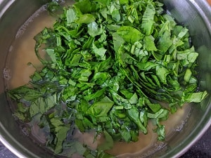 Palak and Dal ready to be pressure cooked