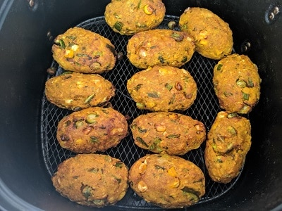 Veg Cutlets in air fryer ready to serve