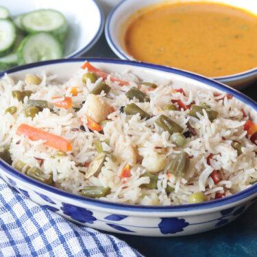 Veg Pulao Recipe in Pressure Cooker (No Onion No Garlic Rice Recipe)