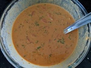 tomato omelette batter is ready